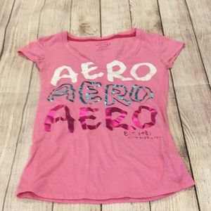Aeropostale pink V neck graphic tee, size XS.